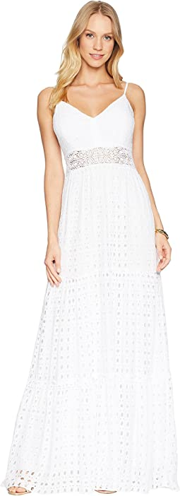 Resort White Stripey Rayon Eyelet