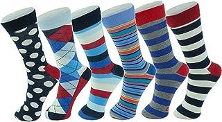 Mens Cotton 6 Pack Dress Socks Solid Ribbed Argyle Shoe Size 6-12