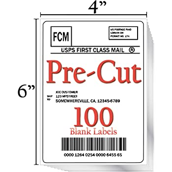 """JETZAP Pre-Cut 4"""" x 6"""" [15x10cm] Laser/Ink Jet Printer White Shipping Labels Load-Ready [Not in Sheets] Adhesive Sticker Matte Opaque Smudge-Free Jam-Free All Printer Compatible Labels - 100 Pack"""