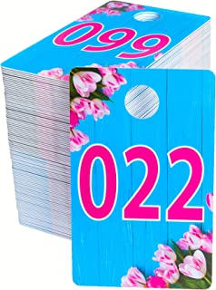 Large Live Sale Plastic Number Tags for Facebook Live Sales and LuLaroe Supplies, Normal and Reverse Mirrored Image, Coat Room Checks, Clothes Reusable Hanger Cards, 100 Consecutive Numbers (001-100)
