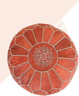 Kechart - Puf Marroquí Marrón cognac de cuero auténtico - Hecho a mano - Entregado con relleno - Otomano, cojin de suelo -