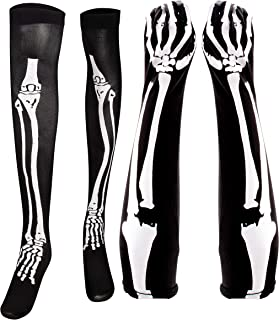 Halloween Skeleton Stocking and Long Arm Gloves - Costume Cosplay Accessory for Women, Teens