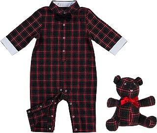 B. BOUTIQUE BY EVERGREEN Red Tartan Plaid Bodysuit & Teddy Bear Giftset - 9 x 2 x 11 Inches