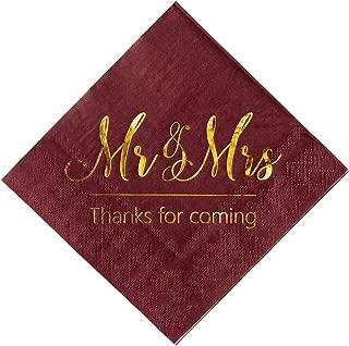 burgundy personalized wedding napkins