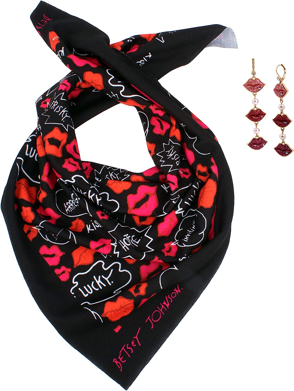Betsey Johnson Lips Bandana & Earrings Set