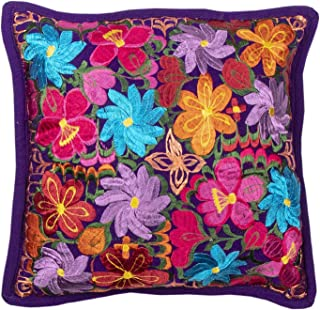El Paso Designs Colorful Mexican Flowers Handmade Embroidery Pillow Cover in Different Vivid Colors (Purple)