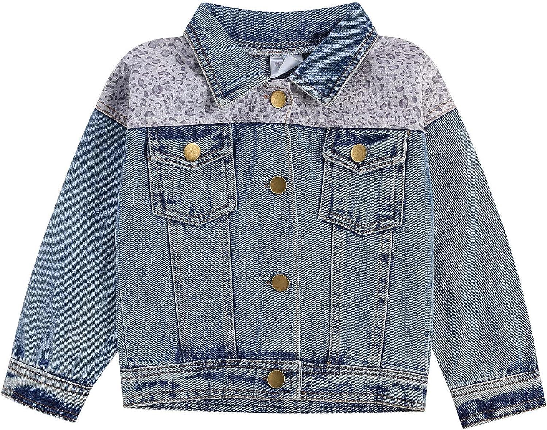 Fashion Toddler Baby Girls Denim Jackets Autumn Long Sleeve Leopard Patchwork Button Down Coats Outwear Cardigans