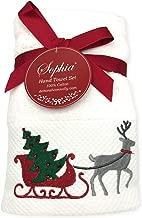 Sophia Reindeer & Jeweled Christmas Tree in Sleigh Embroidered Holiday Hand Towel Set