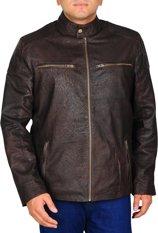 966c9aa2 TrendHoop Men's Distressed Biker Biker Biker Fashion Moto Snuff Leather  Jacket 75abd6