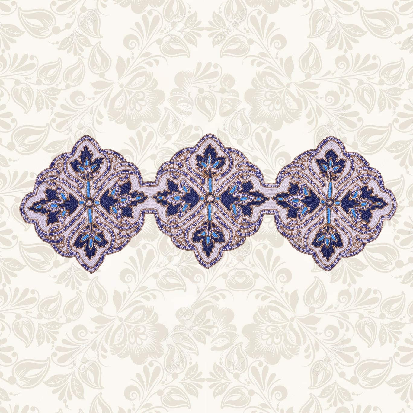 Decozen Embroidered Deluxe Memphis Mall Beaded Runner with Satin 36