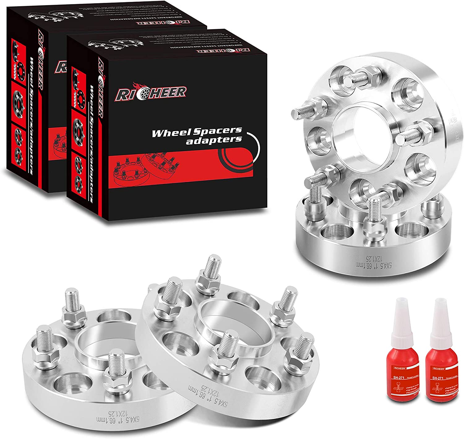 for 350Z 370Z 300Zx 240Sx G35 G37,Forged spacers 1 inch 12x1.25 Studs/&66.1mm Center Bore. 5X114.3mm Richeer Wheel Spacers 5x4.5