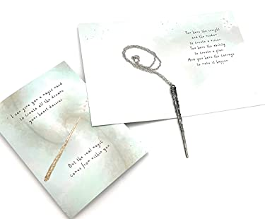 """Smiling Wisdom Hermione Granger Magic Wand - Harry Potter Themed - Empowering Greeting Card - From a Parent, Teacher, Mentor, Coach, Friend, Teen, Grad Anytime Gift – 4.5"""" Antique Silver"""