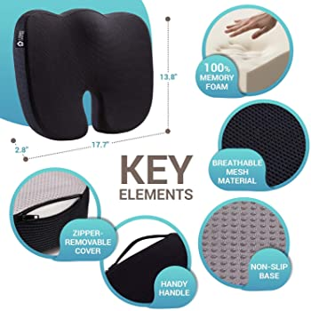 Seat Cushion Pillow for Office Chair - 100% Memory Foam Firm Coccyx Pad - Tailbone, Sciatica, Lower Back Pain Relief ...