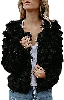 Lovaru Womens Coat Long Sleeve Open Front Parka Shaggy Faux Fur Coat Jacket Parka