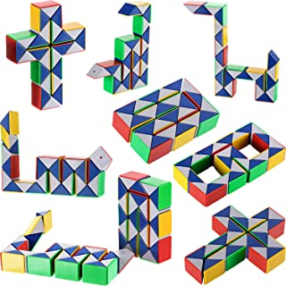 Boao 9 Pieces 24 Blocks Mini Snake Cube, Magic Speed Cubes, Mini Plastic Puzzle Cube Toy for Kids Party Bag Filler, Party Favors Party Supplies, Random Color (Suitable for Children Over 12)