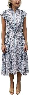 Women's Flutter Sleeve Tie Waist Button Up Floral Dress