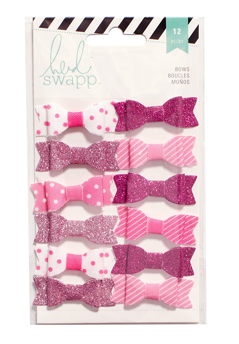 American Crafts Heidi Swapp Fabric Bows Pink & White 12 Piece
