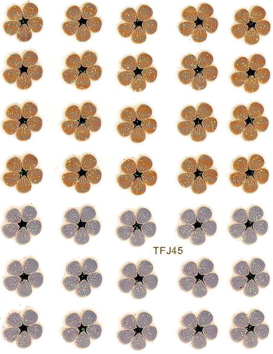 スライス虎クック押し花 ネイルシール 花柄 選べる48種パッケージ入り (F45)