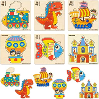 Wooden Jigsaw Puzzles for Toddlers 1 2 3 Year Olds, 6-Packs Toddler and Kids Puzzles, Childrens Wood Preschool Puzzles for kids ages 2-4, Boys and Girl Dinosaur Animals Vechicles Educational Puzzle