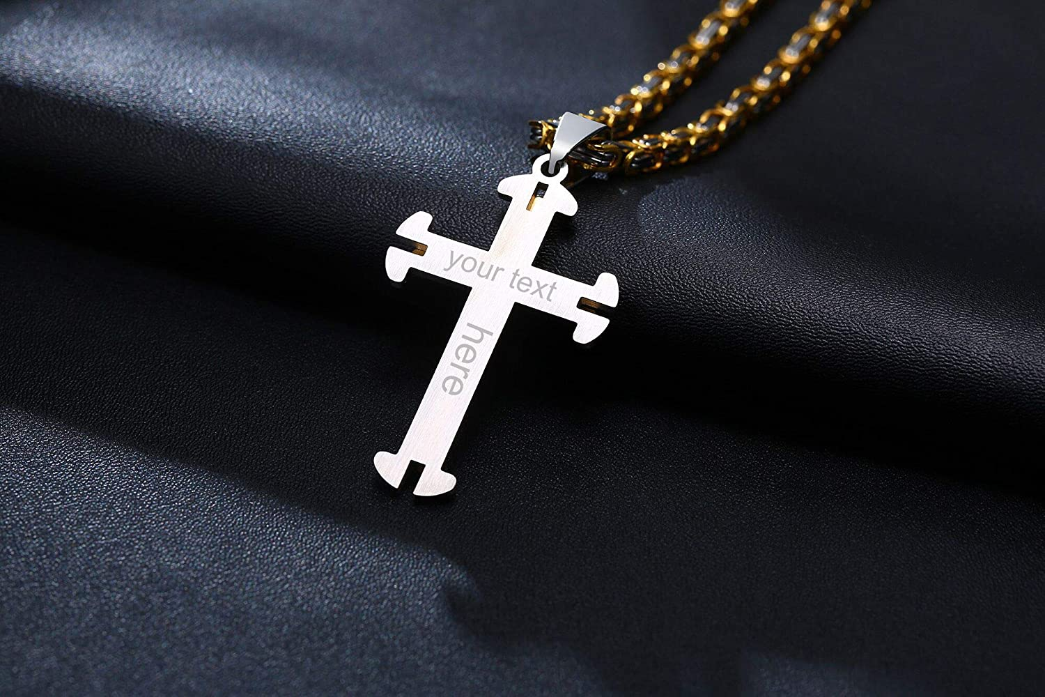 Stainless Steel Brushed and Polished Black IP Plated Religious Faith Cross Necklace 22 Inch Jewelry Gifts for Women