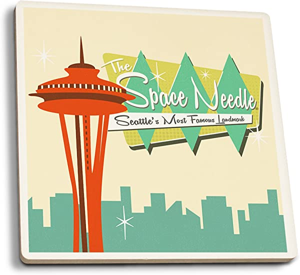 Space Needle Mid Century Modern Skyline And Sign Set Of 4 Ceramic Coasters Cork Backed Absorbent