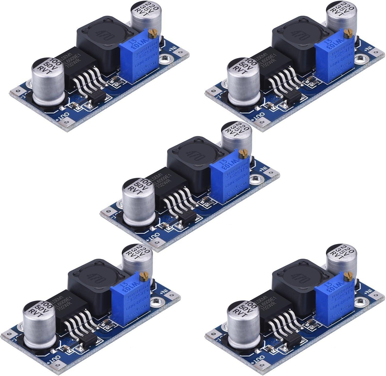 HiLetgo 5pcs XL6009 Boost Module DC-DC Adjustable Module DC3.0-30V to DC5-35V Output Voltage Power Converter Circuit Board Module 400KHz