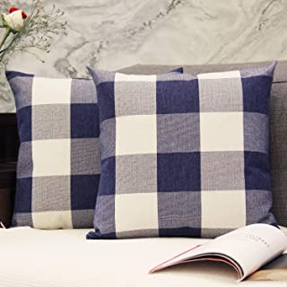 JOJUSIS Buffalo Check Plaid Throw Pillow Covers Cotton Linen Soft Solid Farmhouse Classic Decorative Cushion Pillowcases for Sofa Bedroom Car 18 x 18 Inch Navy Blue Pack of 2