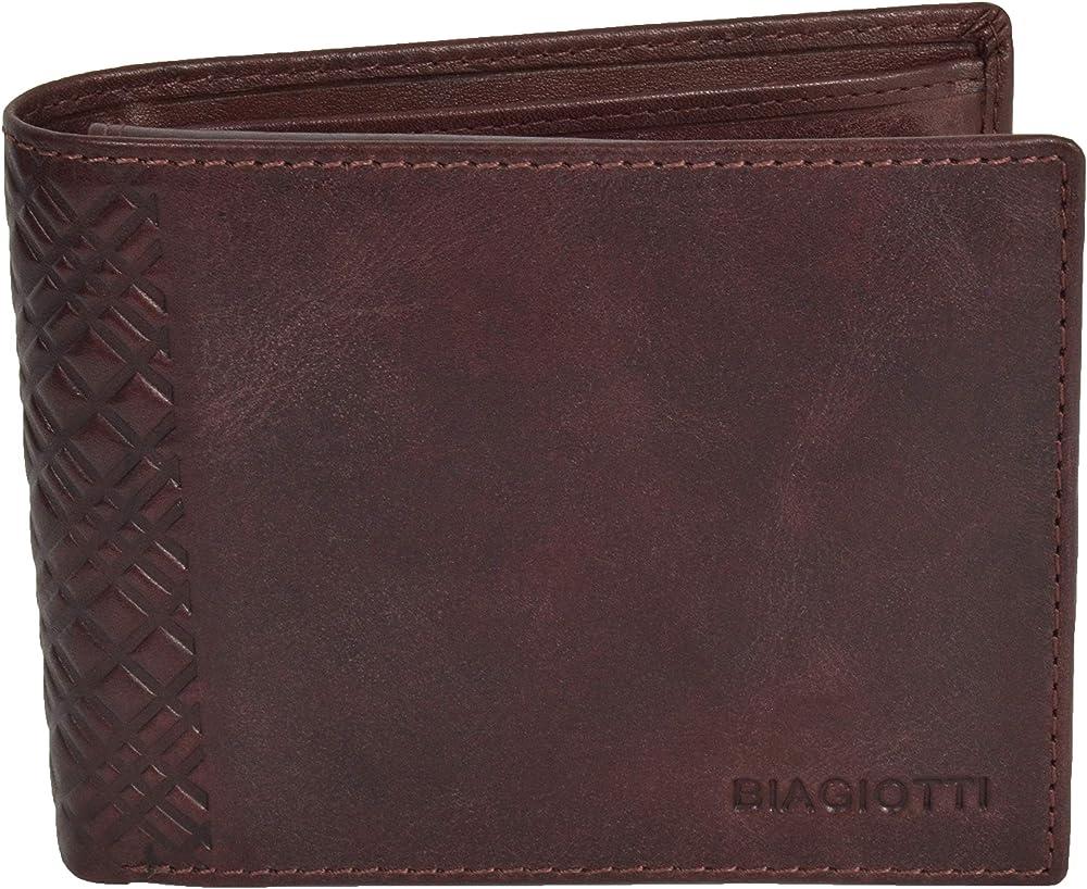 Laura biagiotti uomo, portafoglio , porta carte di credito in vera pelle, Bordeaux 760