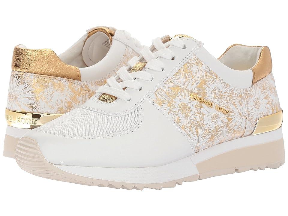 MICHAEL Michael Kors Allie Trainer (Optic/Gold Metallic Flower Embossed/Vachetta/Small Air Mesh) Women