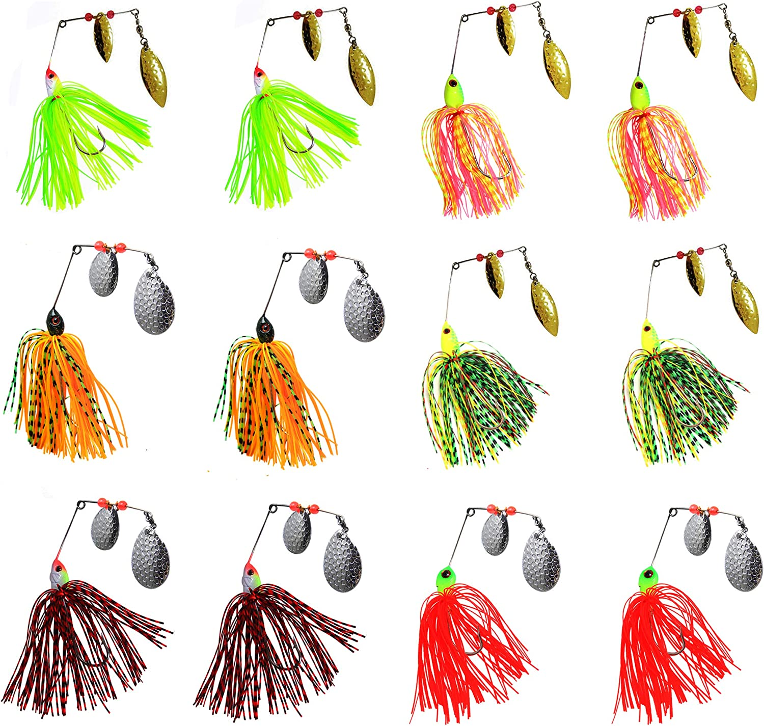 AGOOL Fishing Spinner Baits Lure Kit  Hard Metal Spinner Lures Multicolor Jig Lures Buzzbait Swimbaits for Pike Bass Trout Salmon Freshwater Saltwater Fishing 6pcs 12pcs