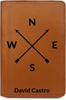 Personalized Leather Passport Holder Cover - Customized Travel Gift - Compass