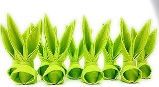 Serviettes de table Lapins de Pâques. Ensemble de 12 en vert clair, d'environ 11 cm de haut. Pour la décoration de la tabl...