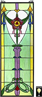 Design Toscano Presentation Rose Tiffany-Style Stained Glass Window, Full Color