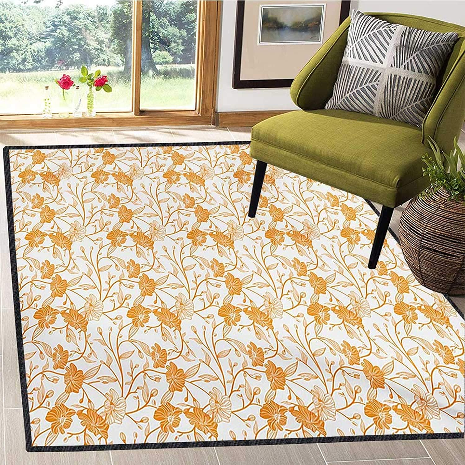 orange and White, Door Mats for Inside, Abstract Drawing of Flowering Stems Blooming Buds Nature Coming Alive, Door Mat Increase 4x6 Ft orange White