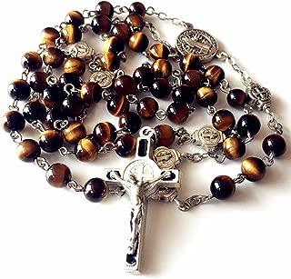elegantmedical Catholic Nice St. Benedict Tiger Eye Beads Gift Rosary Necklace Cross Jerusalem