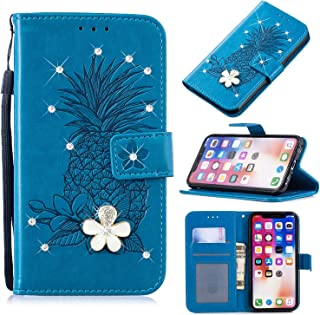 3D Crystal Flower Wallet Case for Samsung Galaxy S10 Plus,Aoucase Cute Pinapple Painted Diamond Magnetic Strap PU Leather Card Slot Shockproof Flip Stand Case with Black Dual-use Stylus,Blue