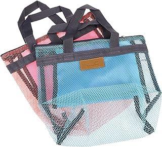 TOPBATHY 2pcs Outdoors Mesh Tote Bag Beach Bag Swimsuit Storage Bag for Beach Pool Bathroom(Pink and Sky Blue)