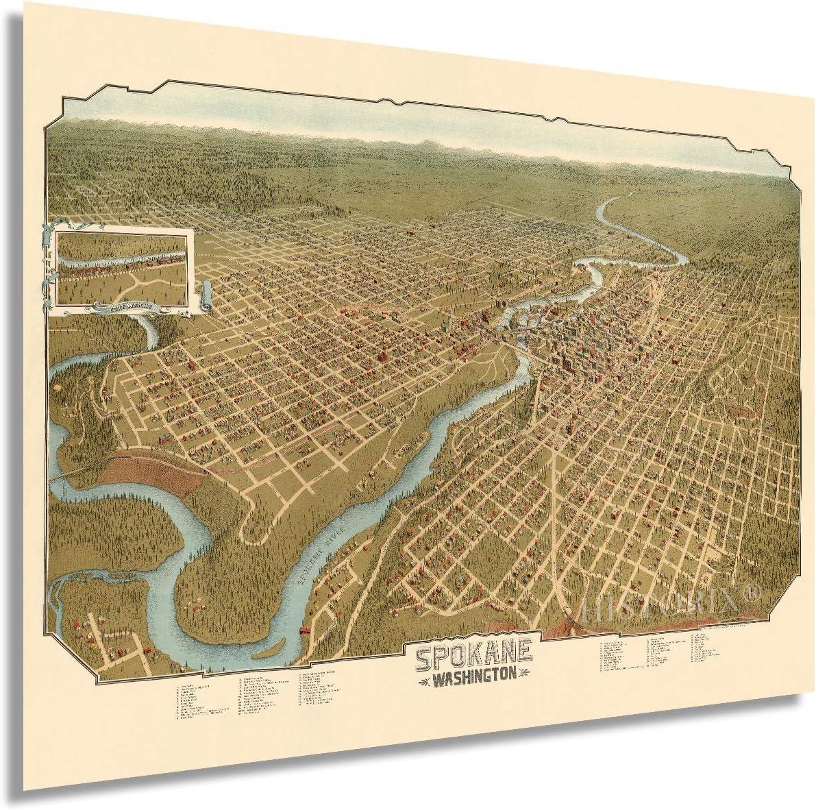 HISTORIX Vintage 1905 Spokane Complete Free Shipping Washington Max 54% OFF - 18x24 Vintag Map Inch