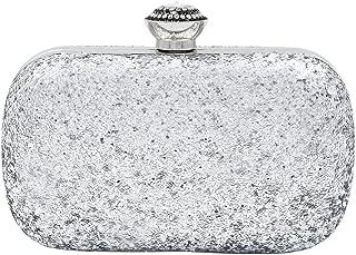 Elegant Glitter Flakes Sequin Hard Clutch Rhinestones Top Evening Bag - 4 Colors