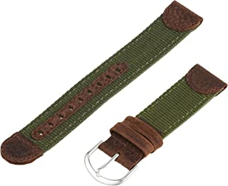 Voguestrap, Comfort Strap, Olive, Regular Length (TX541261) 20mm Water Resistant, Leather and Material Expedition Watchband w/ Silver Buckle