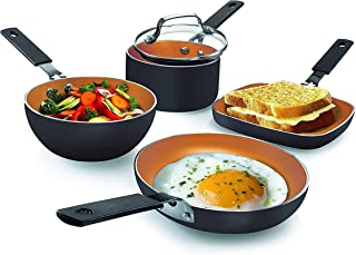 Gotham Steel Mini Stackmaster 5 Piece Cookware Set – Nonstick Personal Sized Fry Pan, Sauce Pan, Wok and Grill/Griddle Pa...