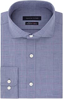 TOMMY HILFIGER Men's Fitted TH Flex Performance Stretch Moisture-Wicking Check Dress Shirt (Purple,15.5 X 32/33)