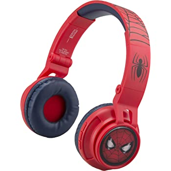 eKids Spiderman Wireless Bluetooth Portable Kids Headphones with Microphone, Volume Reduced to Protect Hearing Rechargeable Battery, Adjustable Kids Headband for School Home or Travel