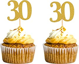 30th Birthday Cupcake Toppers Gold Glitter Thirty Party Decorations 30 Cake Topper Anniversary Decors Supplies Woman Man Pack of 48