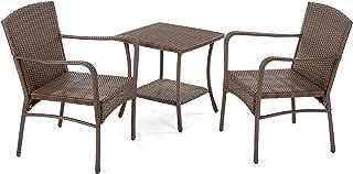 W Unlimited Leisure Collection Outdoor Garden Patio 3-PC Dining Furniture Set, Dark Brown