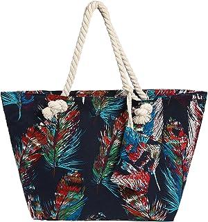 Große Strandtasche wasserabweisend mit Reißverschluss Bunte Federn