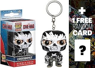 Crossbones: Pocket POP! x Captain America Civil War Mini-Bobble Head Figure Keychain + 1 FREE Official Marvel Trading Card Bundle (095130)