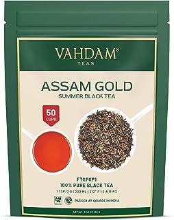 VAHDAM, Assam Gold Second Flush 50 Tassen   RICH & MALTY ASSAM TEE Loose Leaf   100% REINER UNVERGLEICHTER Schwarzer Tee Loose Leaf   Schwarze Teeblätter mit GOLDENEN TIPS   100gr