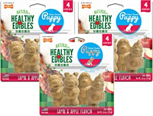 Nylabone 3 Pack of Healthy Edibles Chew Treats for Puppies, 4 Chews Each, Lamb and Apple Flavor, Made in The USA