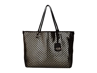 LOVE Moschino Large Woven Tote (Gold/Black) Handbags